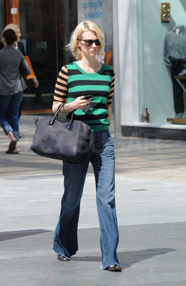 January Jones picked up a few items at Bed Bath & Beyond in LA yesterday. She accessorized her striped sweater with a black Givenchy handbag, which was also recently spotted on the arm of Nicole Richie. January has been staying busy around town while she waits for a decision on the future of Mad Men after the season ended with a few surprises last year. It was just announced that the series will in fact, return for the fifth time, though we won't see Betty back on the air until 2012. We'll get our fill of January before then when she hits the big screen in X-Men: First Class, which is just one of the many sequels coming to theaters this year.