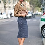 Just a bit ladylike in a polka-dot Zara skirt.