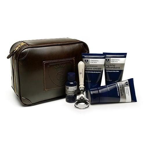 Grooming Lounge Stuffed Leather Travel Bag