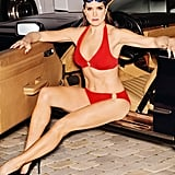 Brooke Shields is wearing the Swimsuits For All Pioneer Red Bikini ($51, originally $78) accessorized with Bonheur jewels.