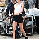 Taylor embraced her edgy side when she stepped out in a bowler hat, black shorts, and lace-up booties.