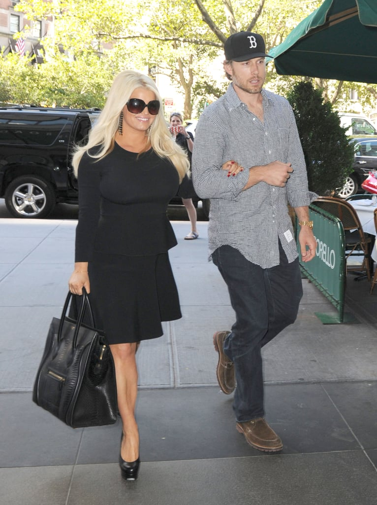 Jessica Simpson held Eric Johnson's arm as they headed into Cafe Fiorello for lunch in NYC today. Jessica showed off her postbaby body in a fitted black Roland Mouret peplum dress. They arrived on the East Coast yesterday, having traveled from LA with daughter Maxwell earlier that morning. Jessica is scheduled to appear on the premiere episode of Katie Couric's new talk show, Katie, today and she'll stop by Good Morning America tomorrow. We'll also see Jessica on the small screen when her new Weight Watchers ads are revealed this week. Her trip isn't just about work, though, since Maxwell also came along for some city fun.