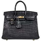 Hermès Birkin 25 Bag Matte Black Alligator Gold Hardware