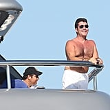 Simon Cowell was all smiles as he took in the view.