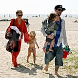 Nicole Richie and Joel Madden at the beach in Malibu with Harlow and Sparrow.