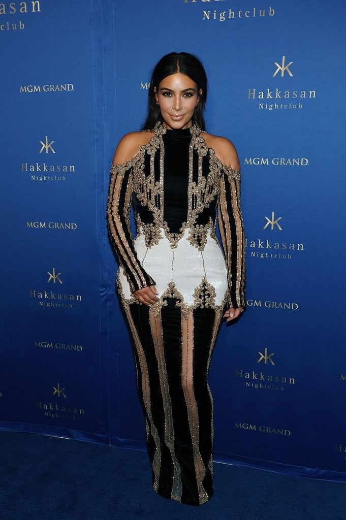 She wore this cold-shoulder gown with sheer panels for the third anniversary of Hakkasan Vegas in 2016.