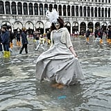 San Marco Square was flooded in Venice, Italy, for the last day of Carnivale.