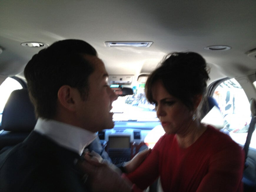 Turns out Joseph's date does know how to tie a bow tie — it's Sally Field!  Source: Twitter user hitRECordJoe
