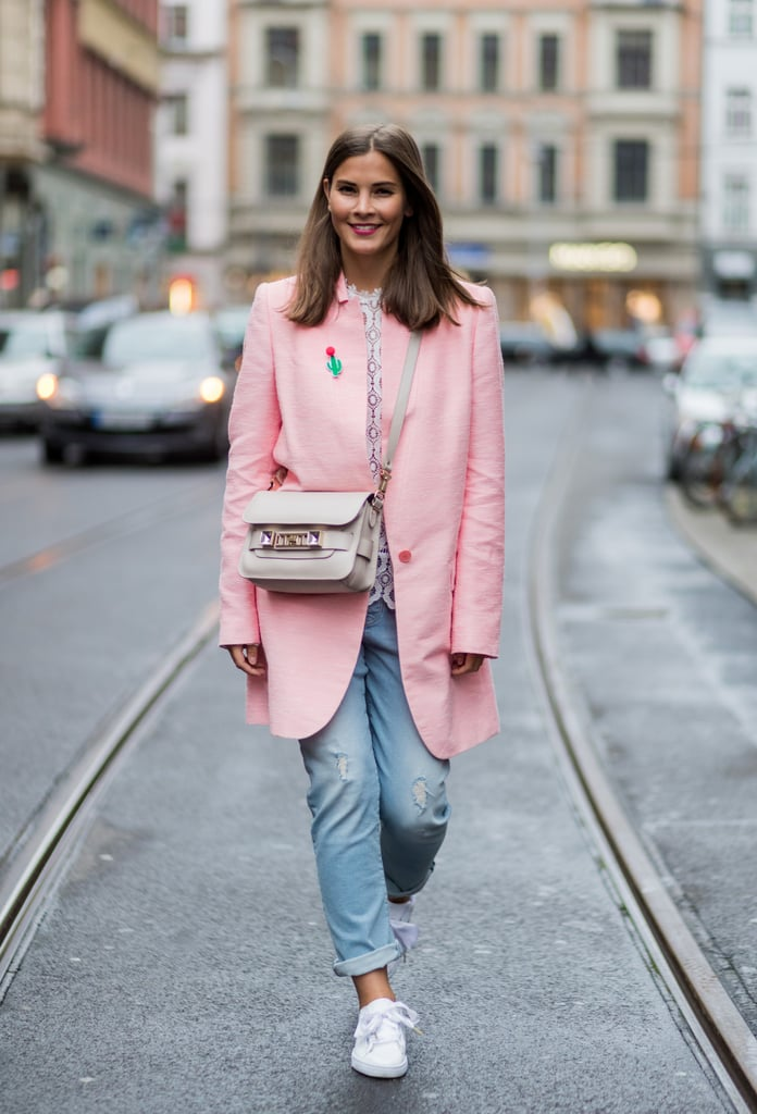 With comfy sneakers on bottom and a pulled-together, polished jacket on top