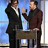 Johnny Depp and Ricky Gervais at the Golden Globes.