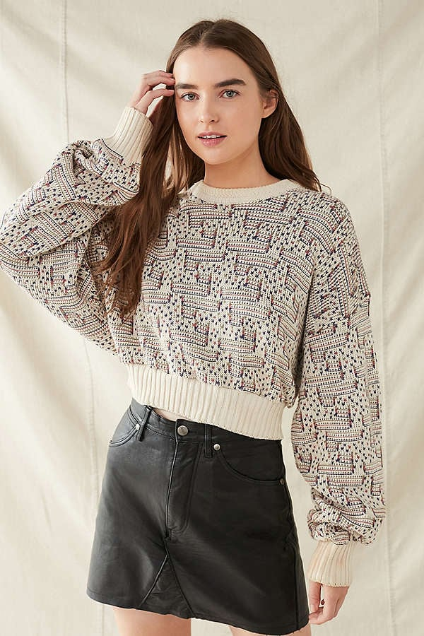 Urban Outfitters Printed Cropped Sweater