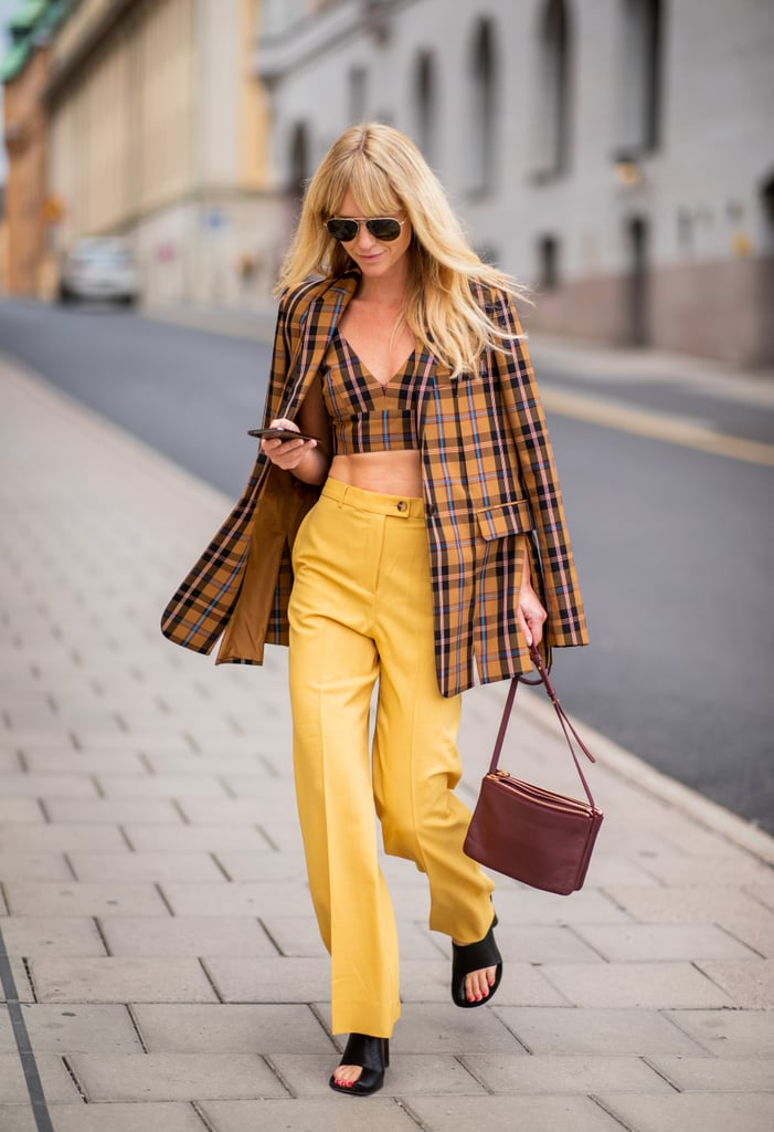 A plaid crop top feels a little less exposed with a coordinating jacket on top.