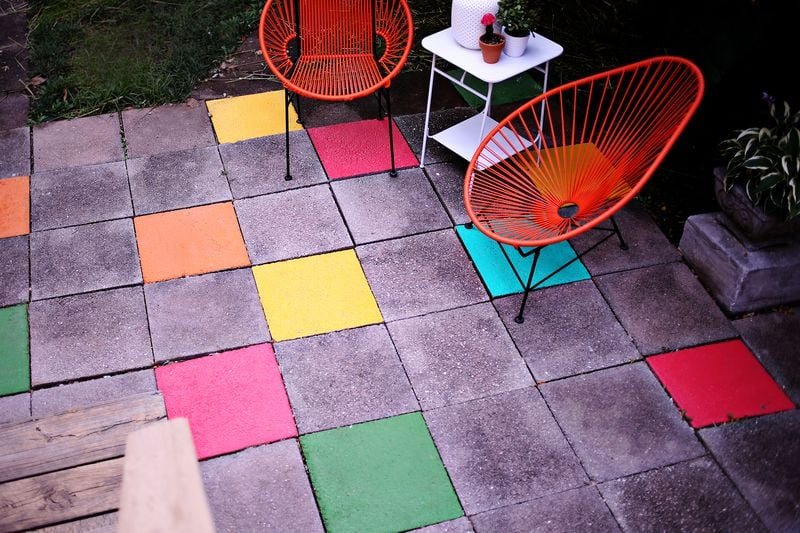 Paint Your Stone Patio Tiles With Pops of Colour
