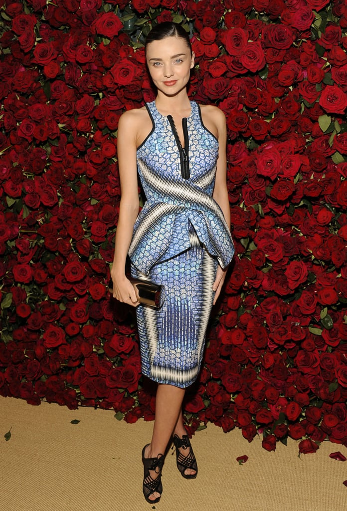 Miranda Kerr's black cutout Nicholas Kirkwood were the perfect ending to her printed Peter Pilotto dress at a Chanel event because they coordinated without interfering.