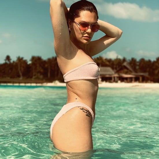 Jessie J Pink Strapless Bikini May 2019