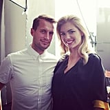 Kate Upton looked fresh-faced on set. Source: Instagram user vanityfair