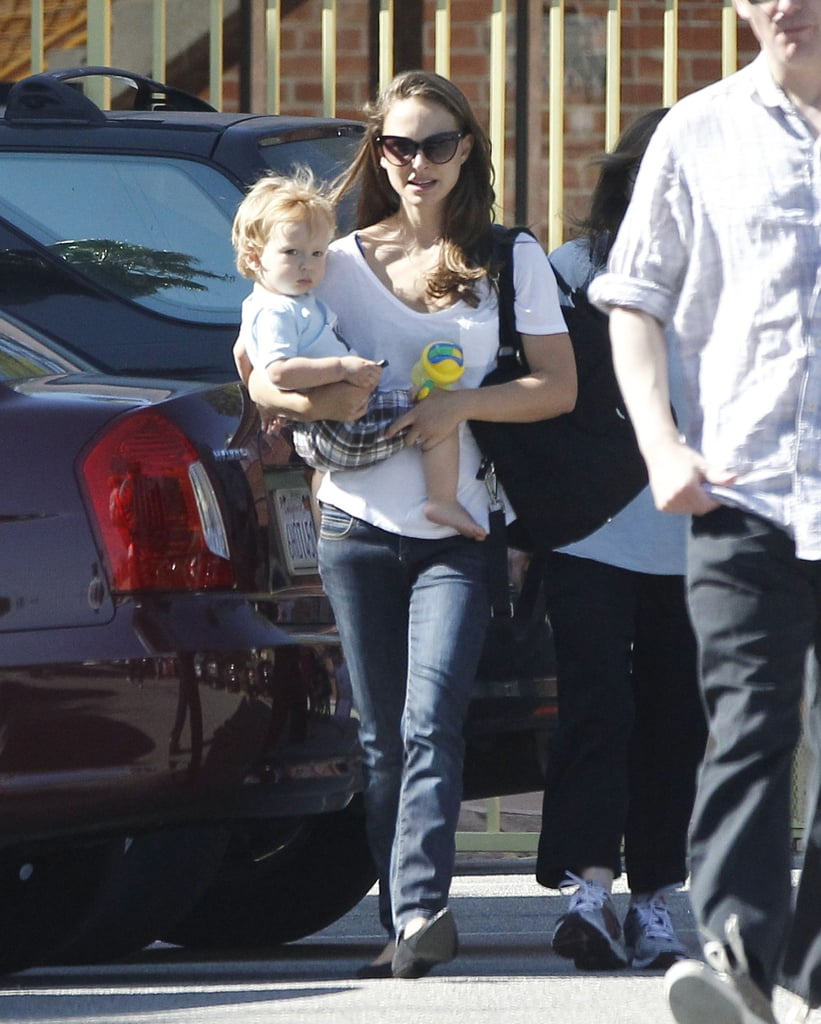 Natalie Portman brought her son, Aleph, to a community center in LA today. She spent the afternoon with her little one after logging time politicking yesterday. Natalie traveled to Cincinnati for an Obama event at the Cincinnati Museum Center, where she addressed a crowd of females about the importance of women's rights in the 2012 elections. Natalie's been especially active during the run-up to Nov. 6, having also spoken at an Obama event in Las Vegas in August. You too can play a part in this important national event — we're hosting a Q&A series with the first lady, so make sure to ask Michelle Obama a question that's important to you.