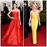 We couldn't help but obsess over the gowns at the Golden Globes. Our faves were Allison Williams in Armani Privè and Naomi Watts in Gucci with an incredible Bvlgari necklace. Wow!