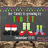 Our Family Is Growing by Two Feet Holiday Pregnancy Announcement