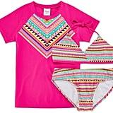 Tribal Print Rash Guard and Swimsuit Set