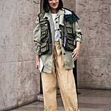 Double up on the utility trend by pairing a multi-pocketed anorak jacket with billowing pants.