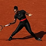 Serena Williams Wearing a Black Bodysuit at the French Open in 2018