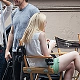 Jake Gyllenhaal and Dakota Fanning relax a moment before filming.