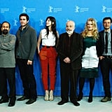 Dutch director Anton Corbijn, Iranian director Asghar Farhadi, US actor Jake Gyllenhaal, Franco-British actress and singer Charlotte Gainsbourg, British director Mike Leigh, German actress Barbara Sukowa, French director François Ozon, and Algerian writer Boualem Sansal posed at a photocall before the opening of the 62nd Berlin International Film Festival.