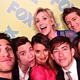 Lea Michele squished into a photo booth with her Glee castmates at the Fox upfront event. Source: Instagram user msleamichele