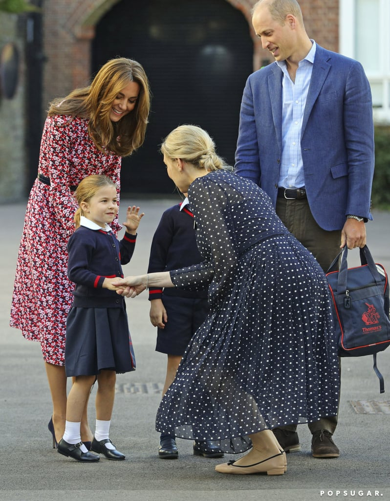 "Princess Charlotte attended her first day of school on Thursday, and the little royal did not disappoint. Much like her older brother, Prince George, at first, Charlotte was a little nervous on her first day, hiding slightly behind mom Kate Middleton. However, she took it all in her stride, showing off a perfect (and adorable) handshake when greeting Helen Haslem, Head of Lower School at Thomas's Battersea. She even playfully flicked her hair while walking into the school with her parents, Prince William and Kate Middleton, and her big brother, who's now an old pro when it comes to that once-scary walk-up to the school gates. Charlotte is following in George's footsteps by attending Thomas's, an independent day school a few miles from the family's home at Kensington Palace, London. Like her brother, she will enjoy the school's framework of ""Enjoyment, Learning, and Achievement,"" which focuses less on grades and more on ""kindness, courtesy, confidence, humility, and learning to be givers, not takers."" She'll have the opportunity to take part in a varied curriculum that includes ""Woodland Adventure"" sessions, expressive art and design, and, yep, ballet as well as more standard academic subjects. Judging by her enthusiasm as she arrived at school for day one, Charlotte can't wait to get started!      Related:                                                                                                           Kate Middleton's School Drop-Off Dress Proves That Summer Isn't Over Just Yet"