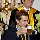 "Andrea celebrated after his enthronement as a member of the ""Chope d'or"" in 2011."
