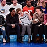 Leslie Jones and Colin Jost at Knicks Game Dec. 2016