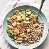 Tofu and Brussels Sprouts in Miso Sauce With Farro