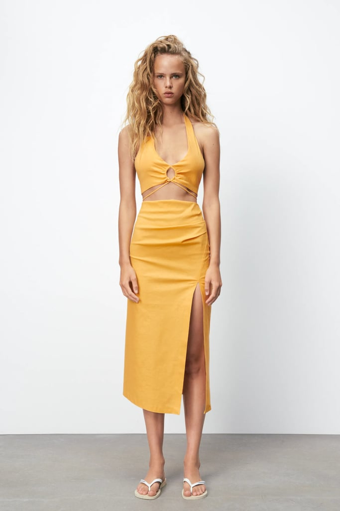 Sunny and Vibrant: Zara Linen Blend Crop Top and Skirt With Ruching