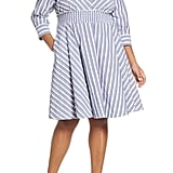 Eliza J Stripe Smocked Waist Shirtdress