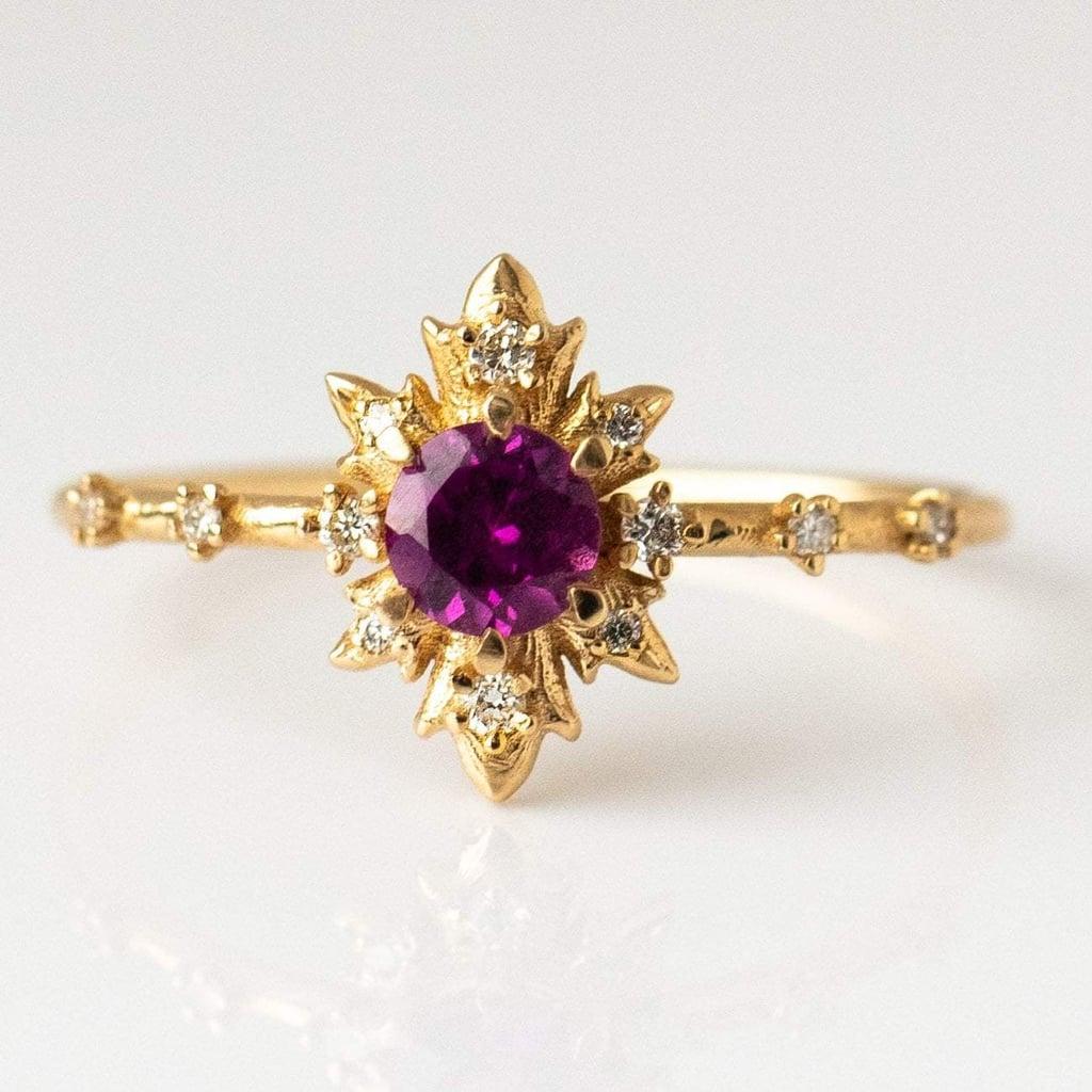 Rhodolite Termina Ring With Diamonds