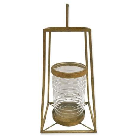 Bonnie: Zuo Pyramid Lantern in Antique Gold