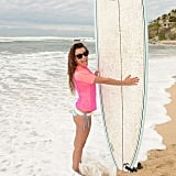 She tried her hand at surfing during a June 2014 vacation in Mexico.
