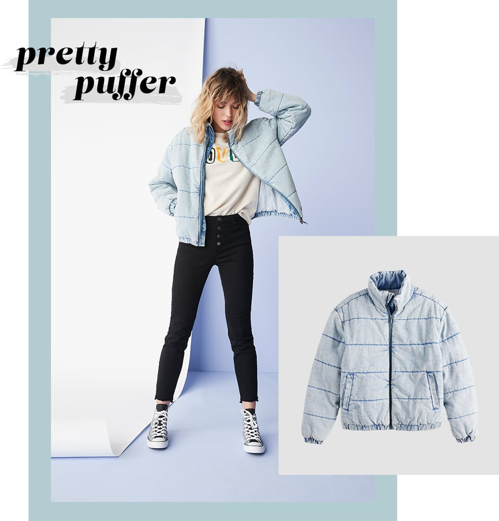 In light-wash denim, this cropped puffer is a unique hybrid of your go-to jean jacket and your trusty Winter coat. It's also the easiest way to instantly brighten any outfit — no styling required, as denim literally goes with everything. Of all the ways to wear it, though, we love black jeans and a graphic sweatshirt — cool, casual, and on-trend.