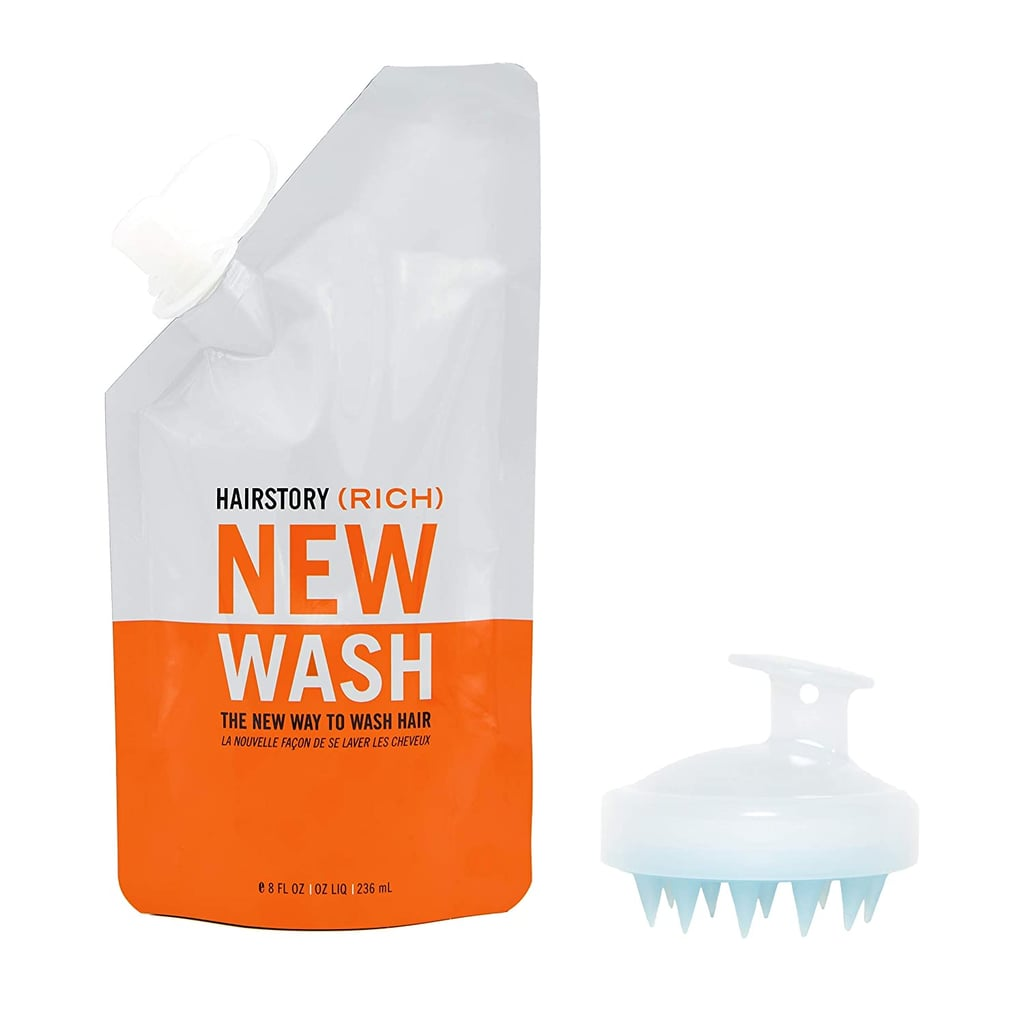 Hairstory New Wash (Rich) Hair Cleanser and Conditioner, 8oz Pouch + Scalp Brush
