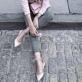 Army-Green Denim, a Striped Shirt, and Lace-Up Flats