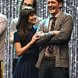 She laughed onstage with Matthew Morrison as they filmed Glee's 300th musical performance in LA in October 2011.