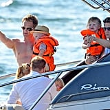 Neil Patrick Harris and David Burtka held Gideon and Harper while they took a boat ride near Saint-Tropez with Elton John's family.