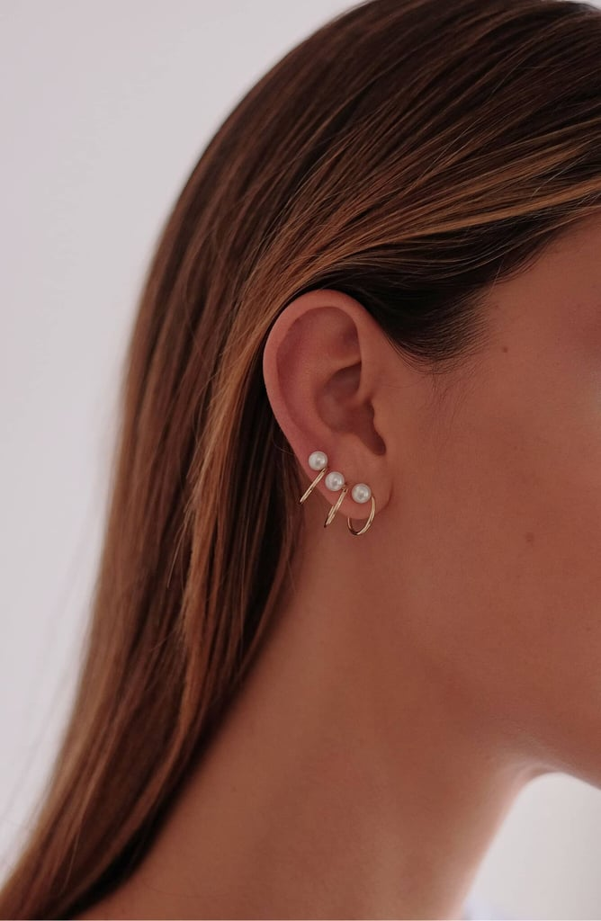 Natasha Schweitzer Mini Lara Freshwater Pearl Hoop Earrings