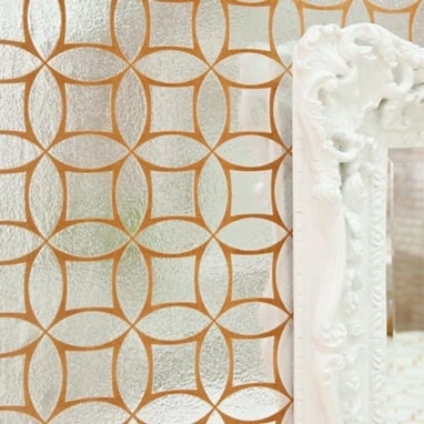 Butternut Geometric Flock Foil Wallpaper ($189)