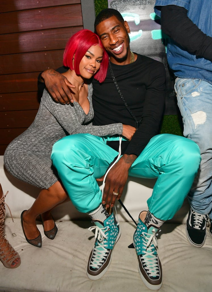 """She's a badass dancer, singer, model, and actress, and he's an NBA player with a singing career. Together, they are the power couple that is Teyana Taylor and Iman Shumpert.  Although the two recently put their relationship and family life with 2-year-old baby Junie on display in the VH1 series Teyana & Iman, they've been stealing our hearts for years now, first going public with their relationship in 2014. Teyana and Iman started as good friends before heating things up romantically, but their chemistry is so undeniably irresistible, we can pretty much feel it through our TV screens.  Maybe it's the matching leather jackets from their low-key wedding or the fact that Iman delivered Junie with his bare hands when Teyana went into early labor at home, but we can't get enough of this smoking-hot couple. Read on to see some of their sweetest — as Teyana would say — """"petunia"""" moments.      Related:                                                                                                                                Teyana Taylor's Insane Dance Workout Will Inspire You to Break It Down"""