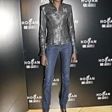 Alek Wek showed off her off-duty style at the Hogan presentation wearing a Hogan leather jacket, denim jeans, and black sandals.