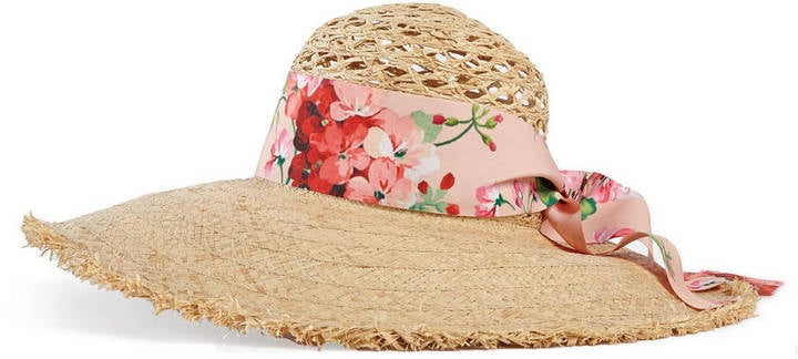 4fa4b747549 Gucci Straw Wide Brim Hat With Bow