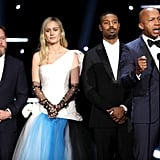 Asher Goldstein, Brie Larson, Michael B. Jordan, and Bryan Stevenson at the 2020 NAACP Image Awards
