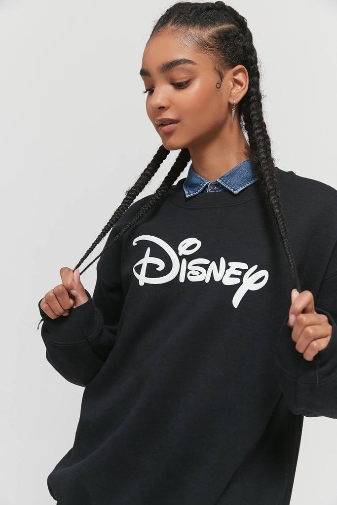 Disney Logo Puff Print Crew Neck Sweatshirt